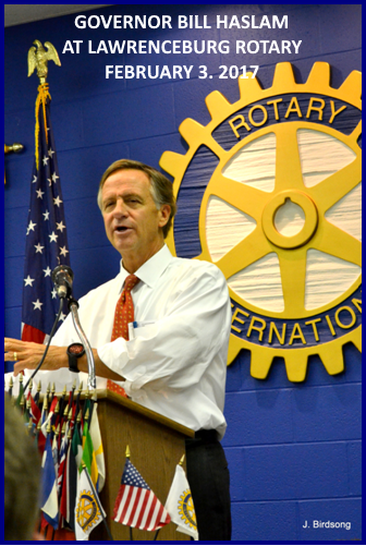 Governor Bill Haslam addresses Lawrenceburg Rotary on February 3, 2017