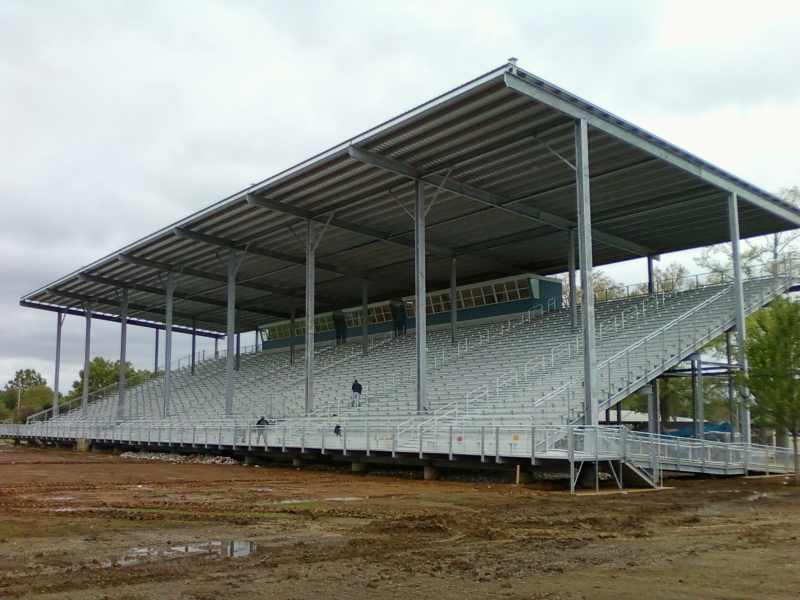 Grandstand with cover nearly complete.